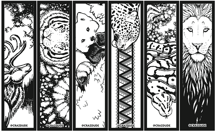 Coloring Page Bookmarks Crazdude Art Design